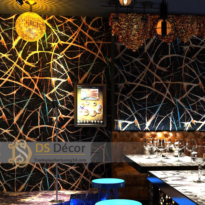 Giấy dán tường phòng karaoke họa tiết vệt sáng 3D050 kết hợp đèn chùm tạo hiệu ứng ánh sáng