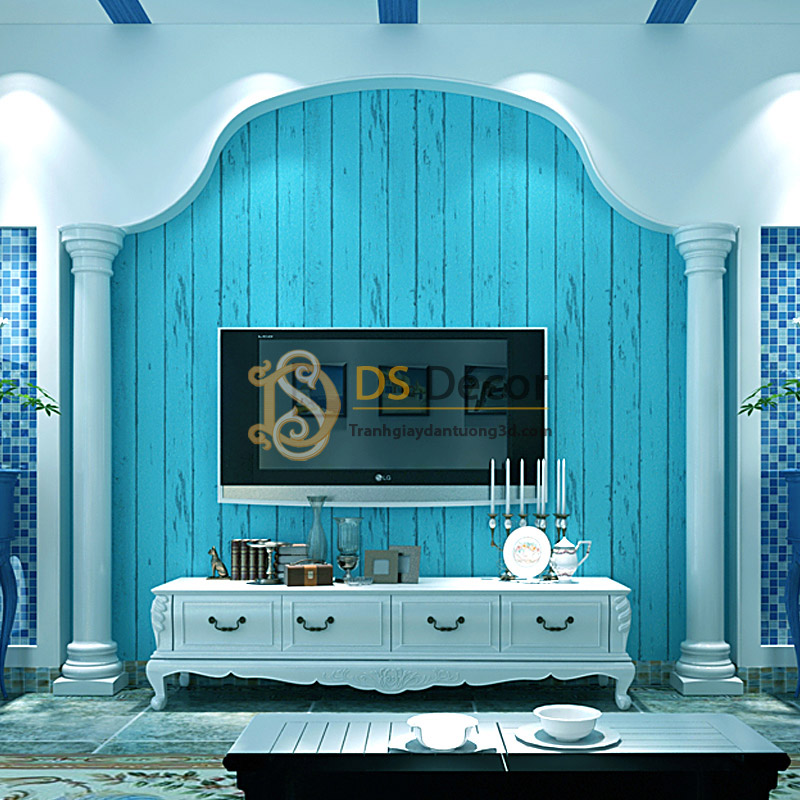 Giấy dán tường giả ván gỗ xanh nước biển 3D065 trang trí phòng khách sau tivi