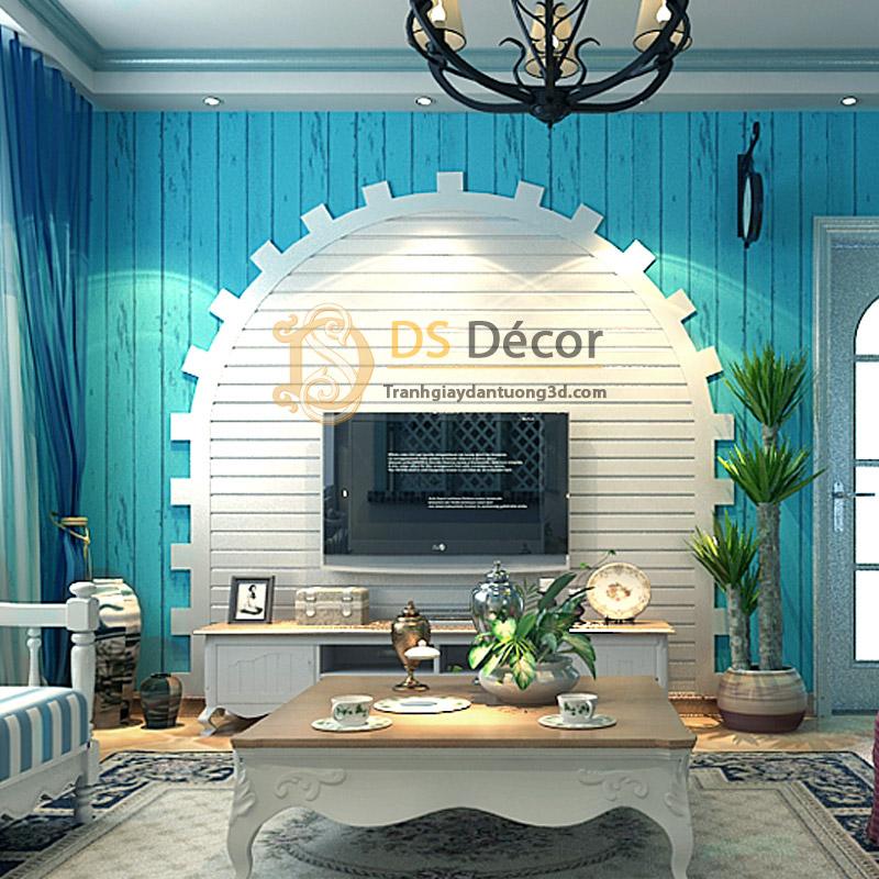 Giấy dán tường giả ván gỗ xanh nước biển 3D065 kết hợp nội thất xanh trắng