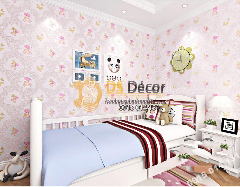 Giấy Dán Tường Họa Tiết Gấu Bông 3D070