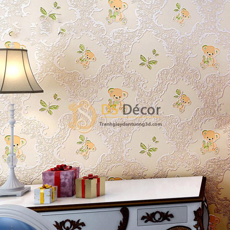 Giấy dán tường họa tiết gấu bông 3D070 màu vàng