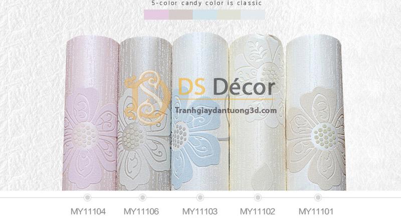 5 màu giấy dán tường họa tiết hoa hướng dương chạm nổi