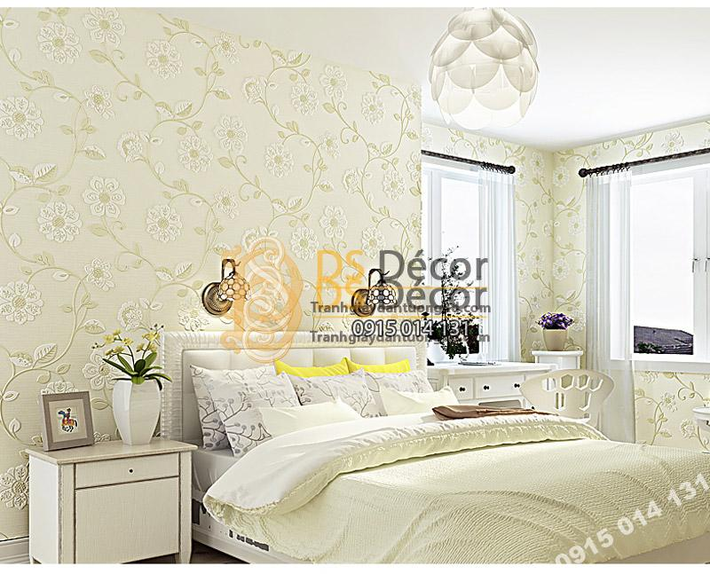 Giấy dán tường họa tiết hoa hướng dương chạm nổi màu be cho phòng ngủ