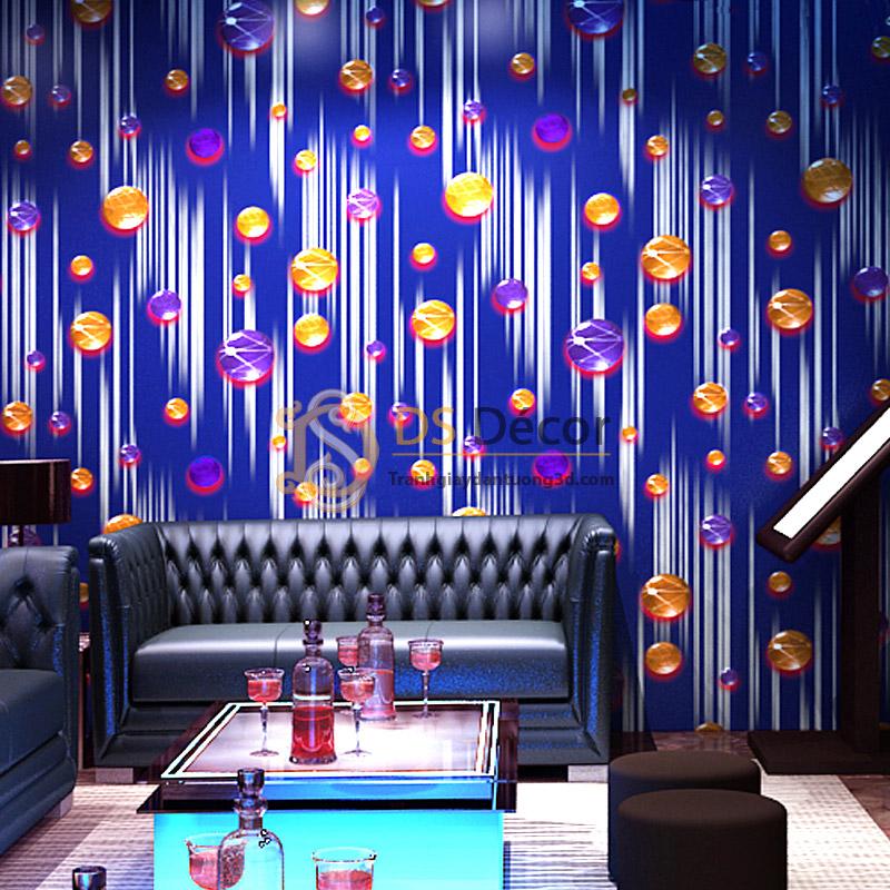 Giấy dán tường phòng hát karaoke họa tiết ngọc rơi 3D051 nền xanh.
