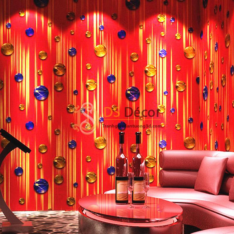 Giấy dán tường phòng hát karaoke họa tiết ngọc rơi 3D051 nền đỏ