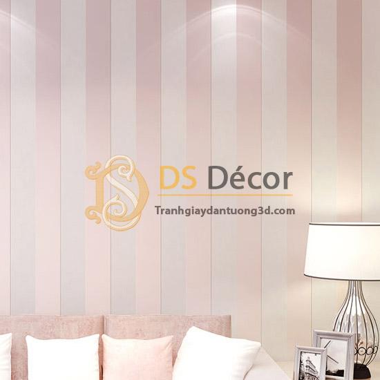Giấy dán tường sọc dọc hiện đại 3D071 hồng trắng
