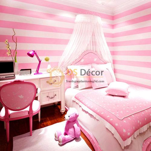 Giấy dán tường sọc hồng cho phòng ngủ của bé 3D062