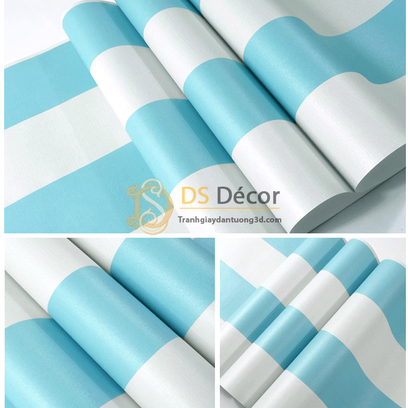 Bề mặt Giấy dán tường sọc xanh trắng 3D063