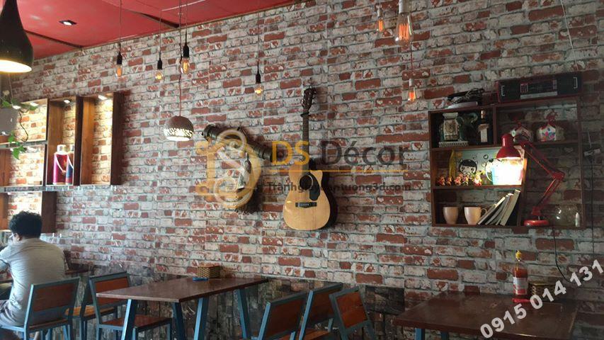 Giấy dán tường giả gạch 3D51 cho quán cafe