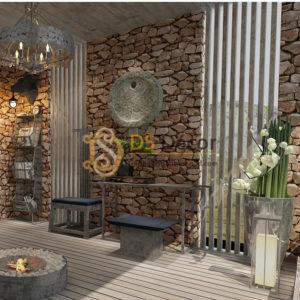 Giấy dán tường giả đá 3D043 cho quán ăn