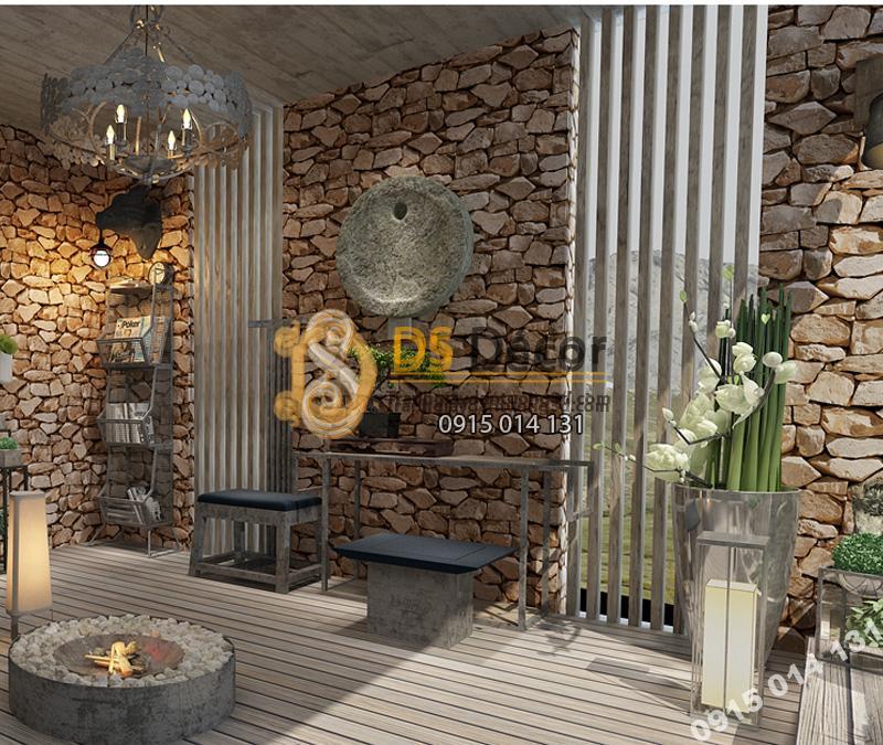Giấy dán tường 3D họa tiết giả đá 3D043 màu Sepia