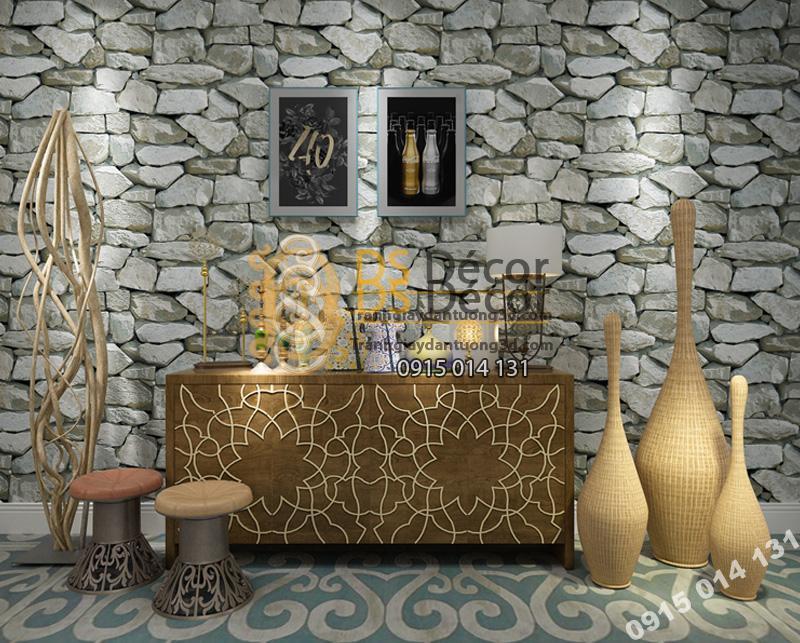 Giấy dán tường 3D họa tiết giả đá 3D043 màu xám trắng