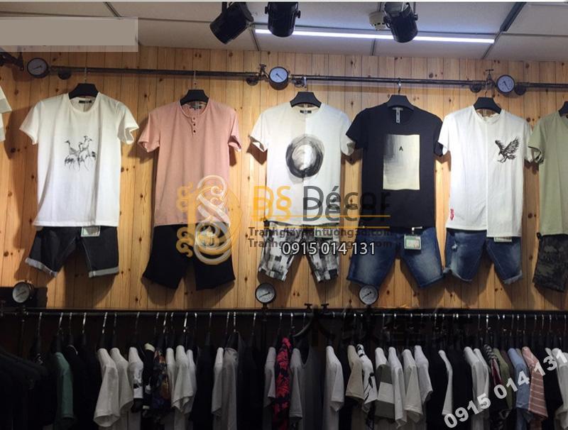 Giấy Dán Tường 3D Giả Gỗ 3D039 trang trí trong cửa hàng shop quần áo