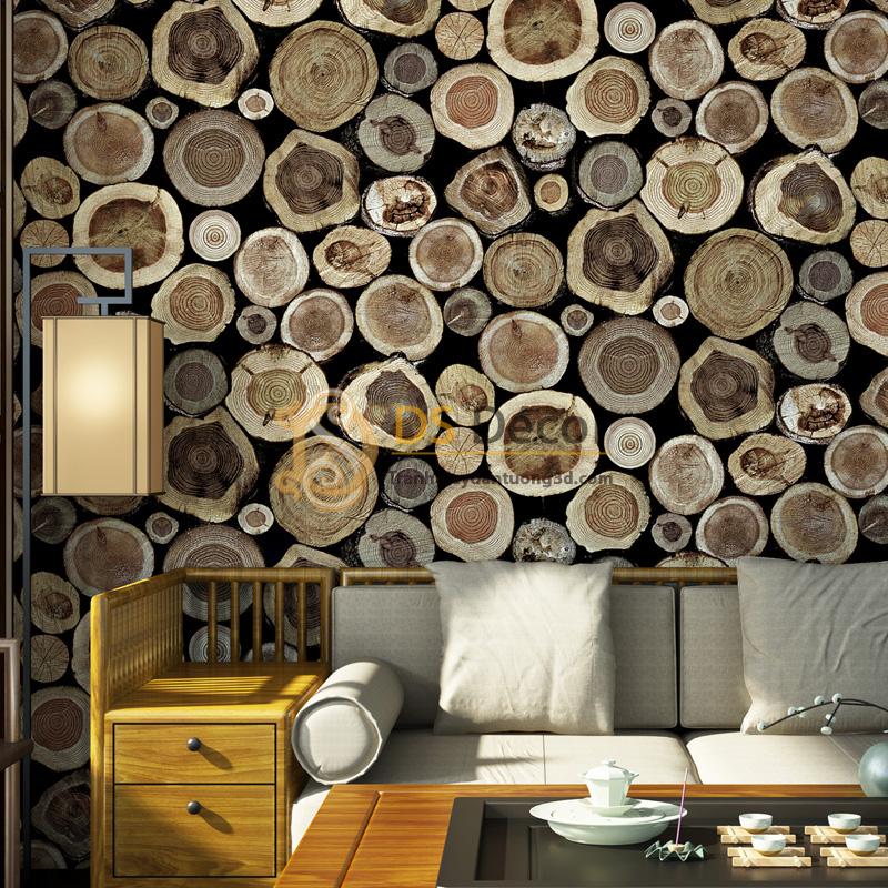 Họa tiết lát gỗ tròn Giấy dán tường 3D giả gỗ 3D042.