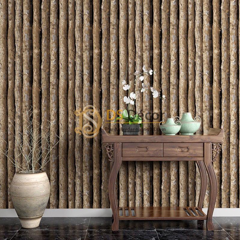 Họa tiết thân gỗ dọc Giấy dán tường 3D giả gỗ 3D042.