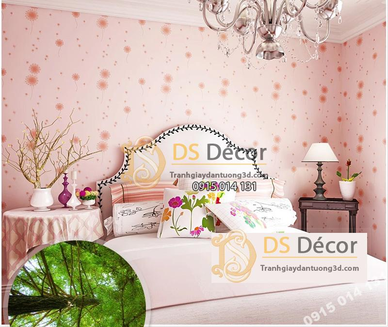 Giấy Dán Tường 3D Hoa Bồ Công Anh tông màu hồng đặc biệt dành cho trang trí phòng cưới