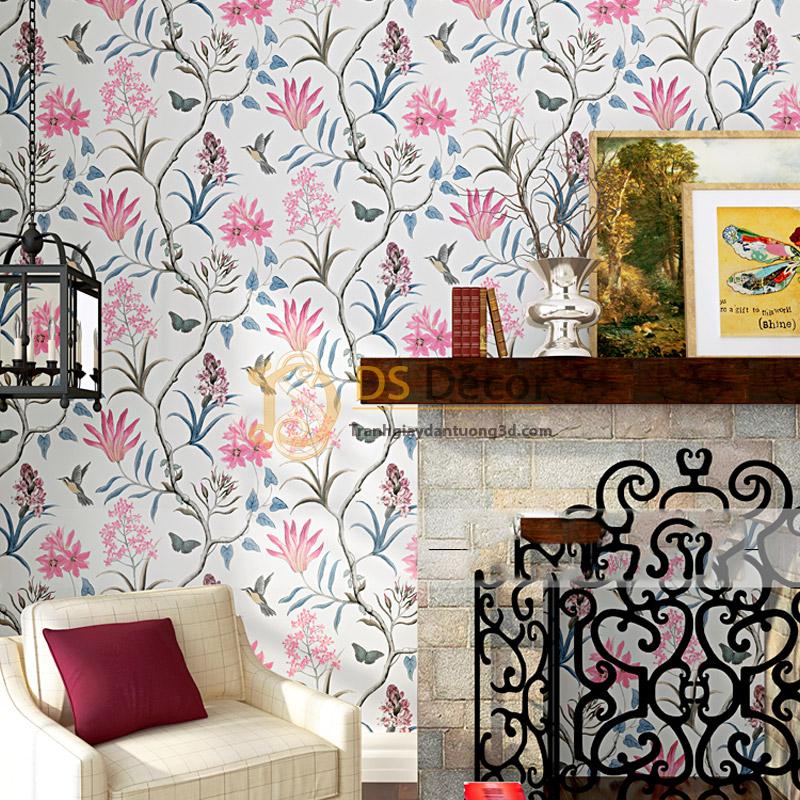 Giấy dán tường họa tiết vườn hoa và chim 3D057 trang trí phòng khách