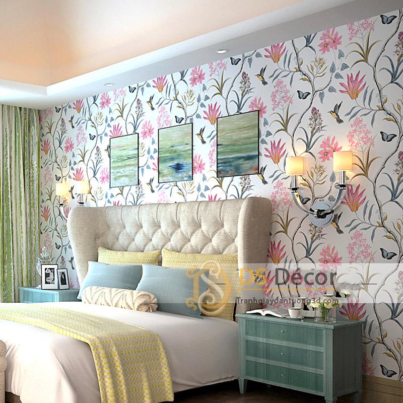 Giấy dán tường họa tiết vườn hoa và chim 3D057 trang trí phòng ngủ