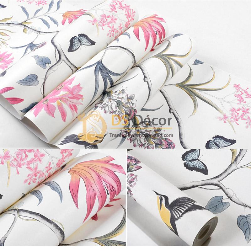 Bề mặt Giấy dán tường họa tiết vườn hoa và chim 3D057