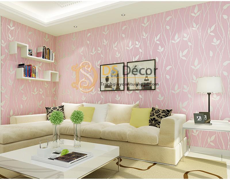 Giấy dán tường 3D họa tiết lá cây màu hồng
