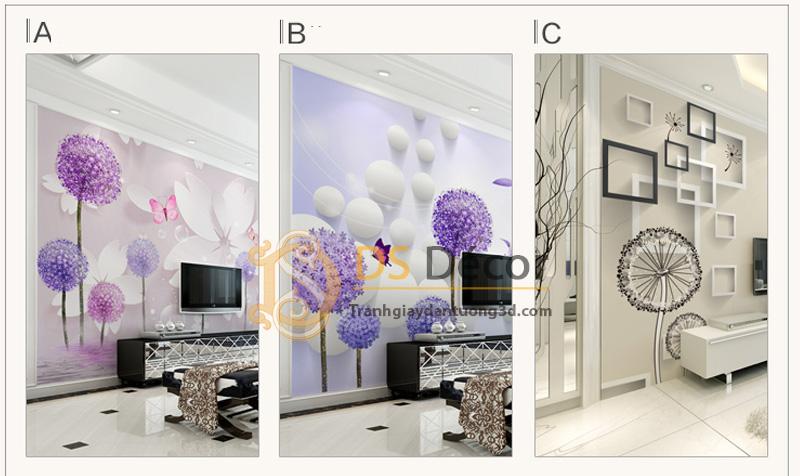 3 mẫu Tranh dán tường 5D họa tiết hoa bồ công anh phối chi tiết hiện đại - 5D010.