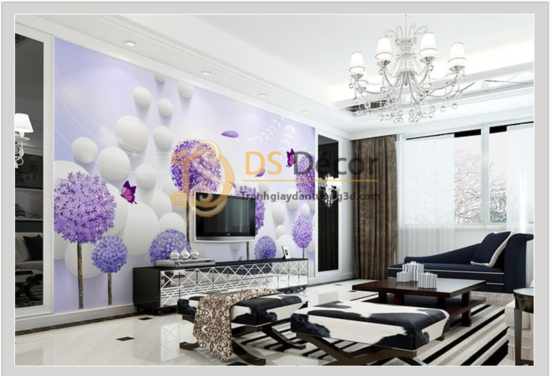 Tranh dán tường 5D họa tiết hoa bồ công anh phối chi tiết hiện đại - 5D010 Mẫu B