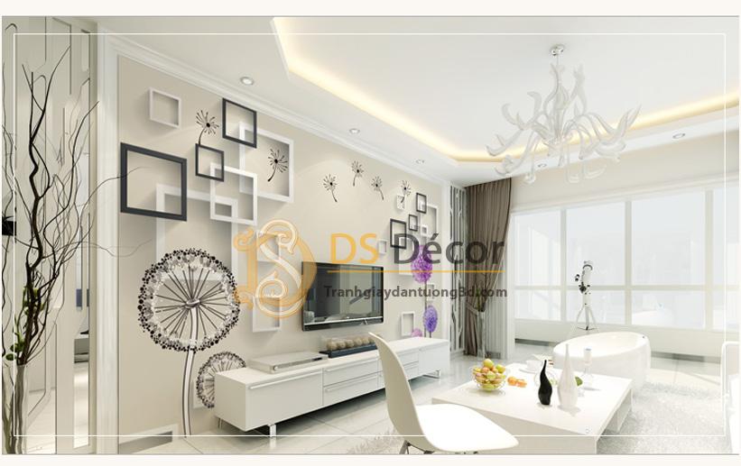 Tranh dán tường 5D họa tiết hoa bồ công anh phối chi tiết hiện đại - 5D010 Mẫu C
