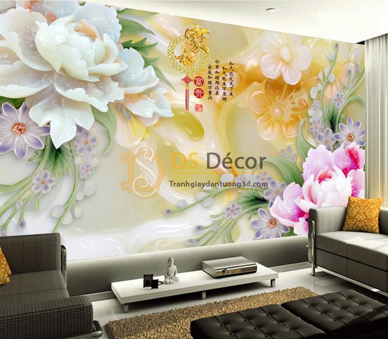 Tranh dán tường 5D giả ngọc 5D016 trang trí phòng khách tuyệt đẹp