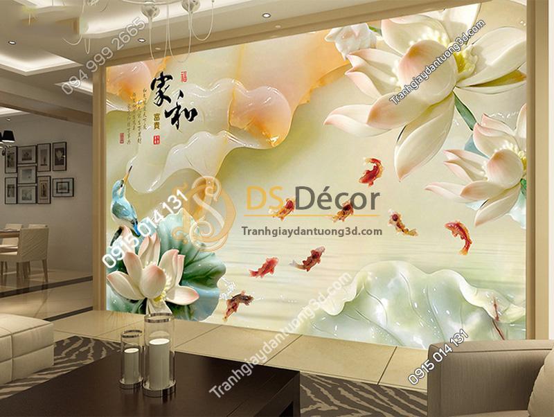 Tranh dán tường 5D giả ngọc 5D016 kết hợp màu tường và màu nội thất