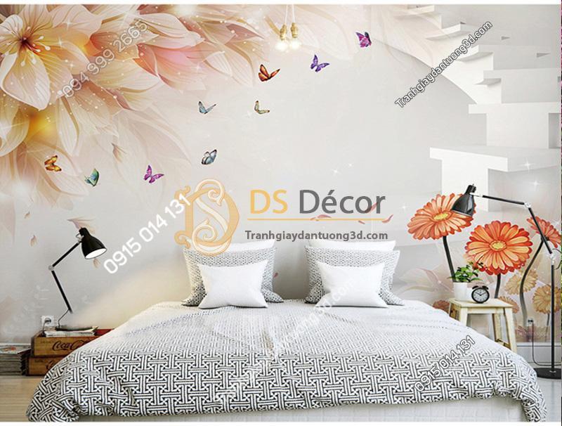 Tranh dán tường hoa và bướm 5D021 trang trí tại phòng ngủ