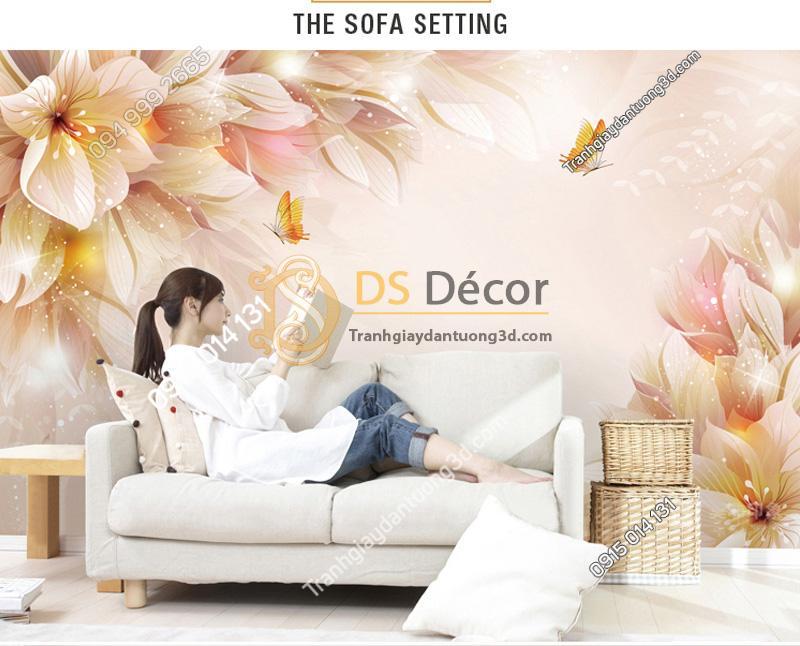 Tranh dán tường hoa và bướm 5D021 đặt sau ghế sofa