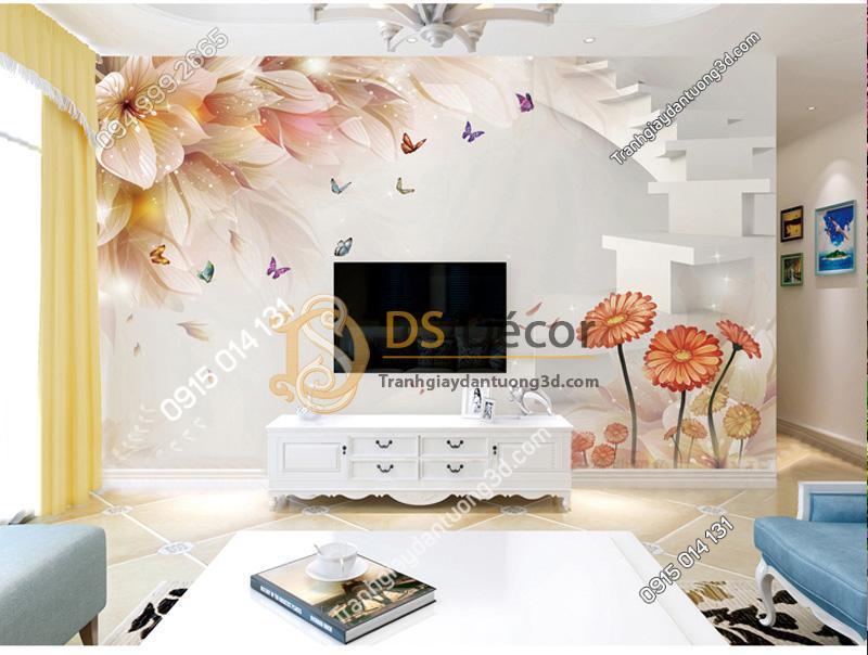 Tranh dán tường hoa và bướm 5D021 trang trí phòng khách