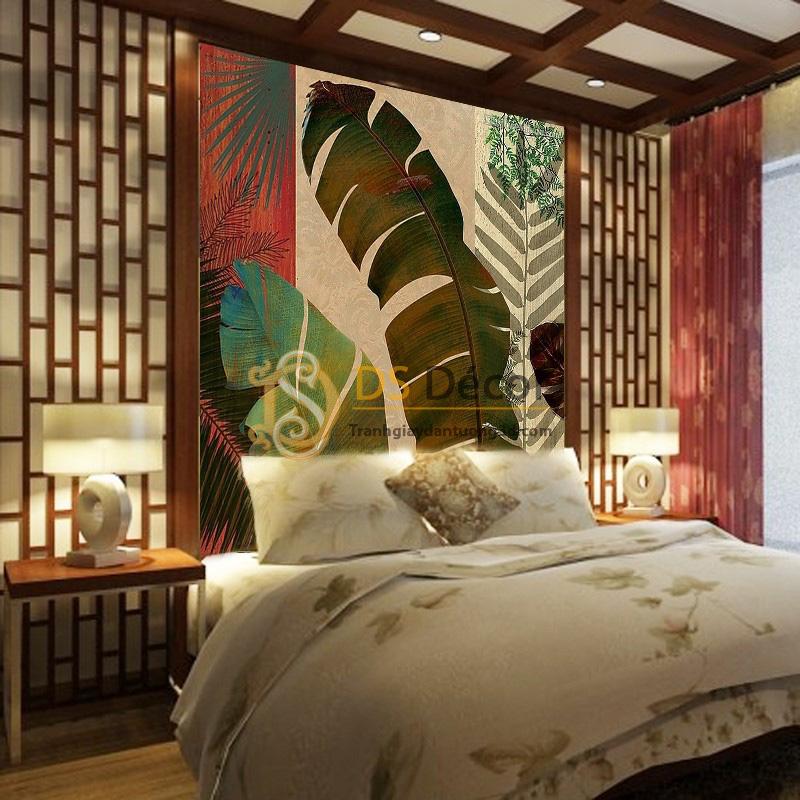 Đặt Tranh dán tường 5D Họa tiết lá chuối 5D049 trong phòng ngủ