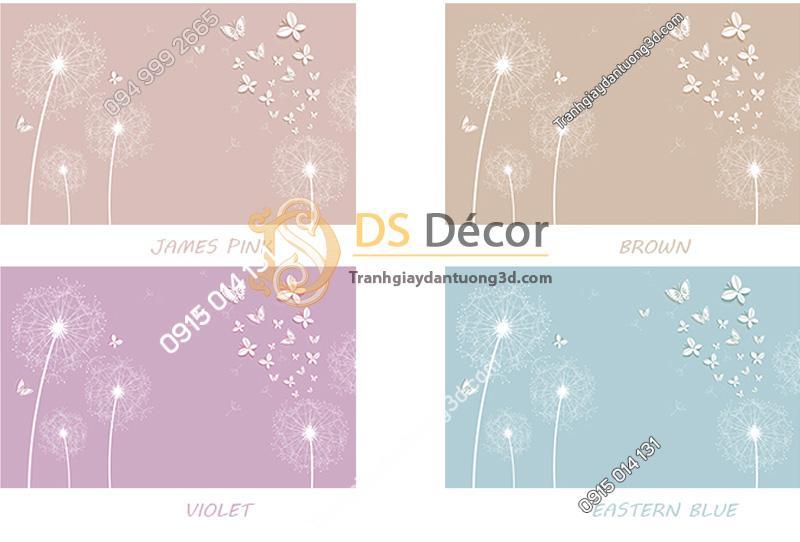 4 màu của Tranh dán tường 5d hoa bồ công anh và bướm