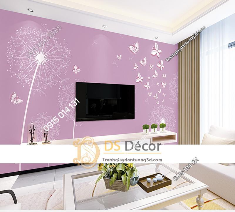 Tranh dán tường 5d hoa bồ công anh và bướm màu tím