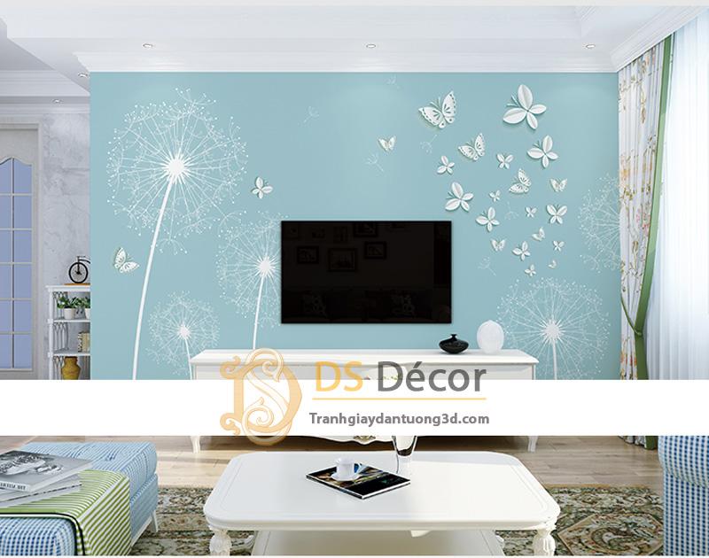 Tranh dán tường 5d hoa bồ công anh và bướm màu xanh dương