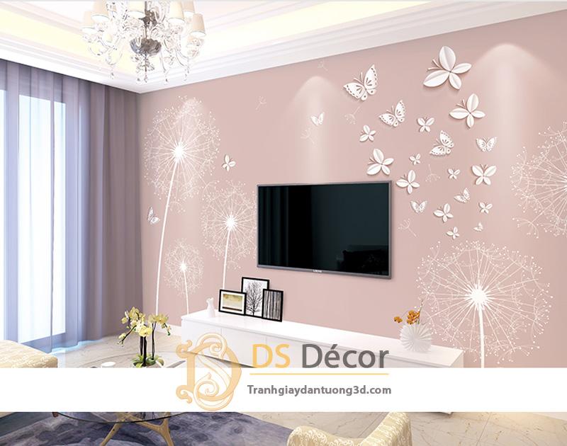 Tranh dán tường 5d hoa bồ công anh và bướm màu hồng jame