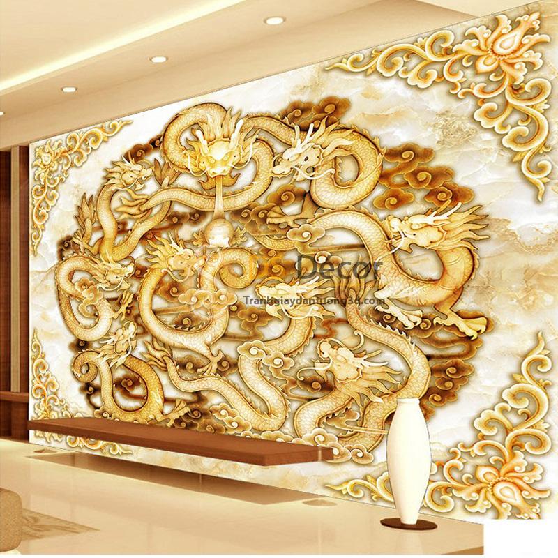 Tranh dán tường 5D rồng bay giả ngọc thạch 5D050 - Rồng vàng