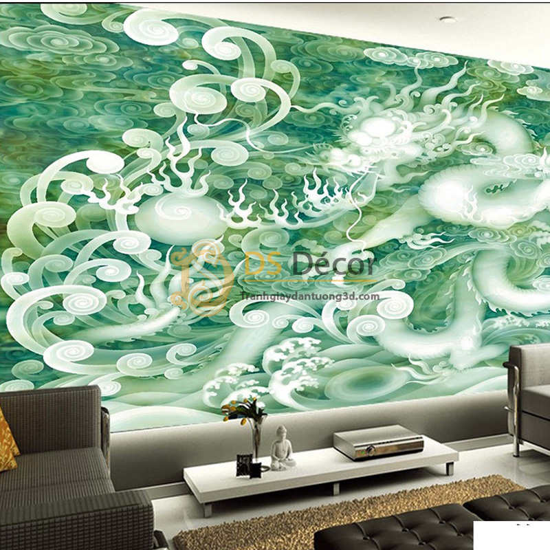 Tranh dán tường 5D rồng bay giả ngọc thạch 5D050 - Rồng trắng mây xanh