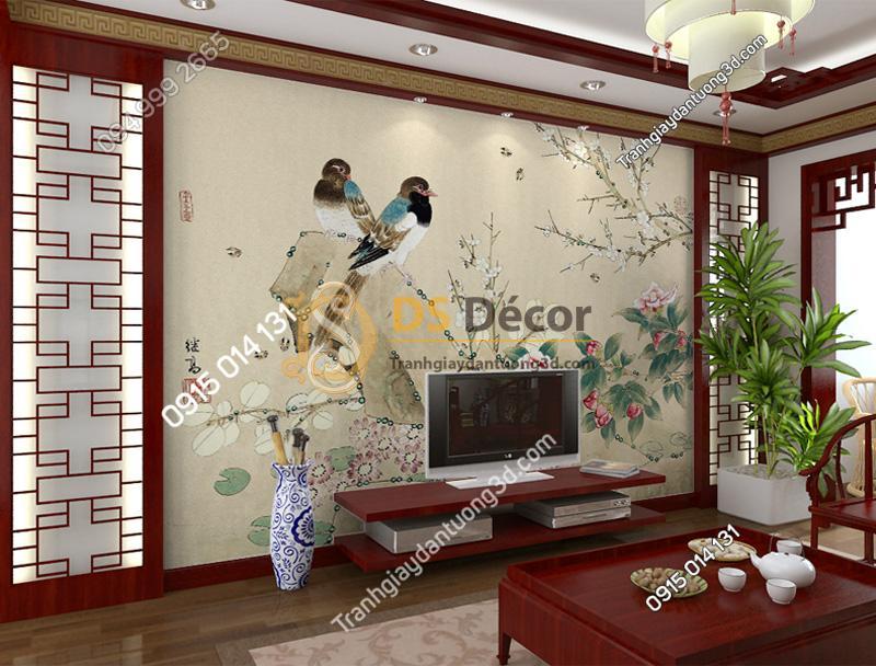 Tranh dán tường 5d họa tiết chim sẻ và hoa tại phòng khách