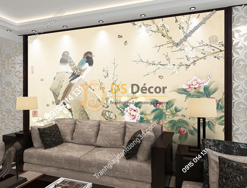 Tranh dán tường 5d họa tiết chim sẻ và hoa sau ghế sofa