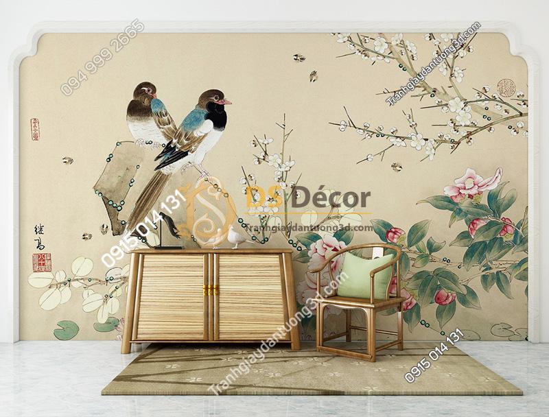 Tranh dán tường 5d họa tiết chim sẻ và hoa
