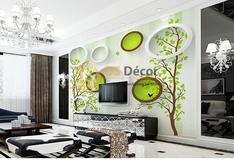 Tranh dán tường 5d họa tiết vòng tròn và cây xanh mẫu F