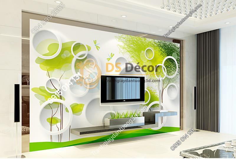 Tranh dán tường 5d họa tiết vòng tròn và cây xanh mẫu C