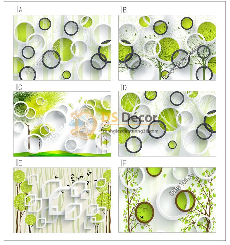 6 mẫu họa tiết của tranh dán tường 5d họa tiết vòng tròn và cây xanh