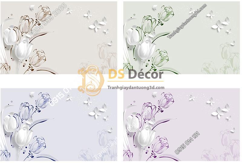 Bốn màu của mẫu Tranh Dán Tường 5D Họa Tiết Hoa và Bướm - 5D007