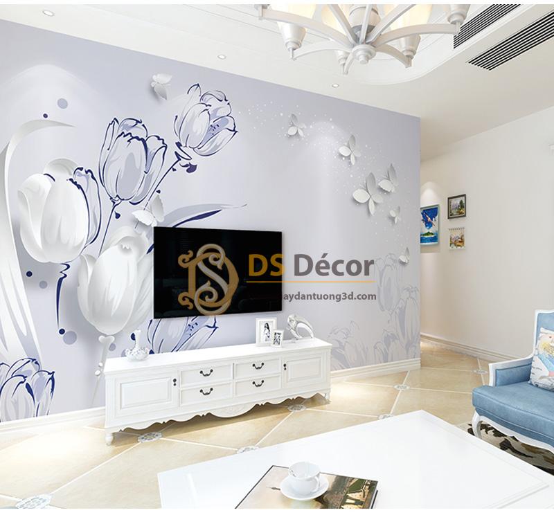 Tranh Dán Tường 5D Họa Tiết Hoa và Bướm - 5D007 màu xanh dương