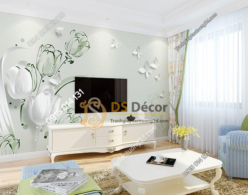Tranh Dán Tường 5D Họa Tiết Hoa và Bướm - 5D007 màu xanh lá cây
