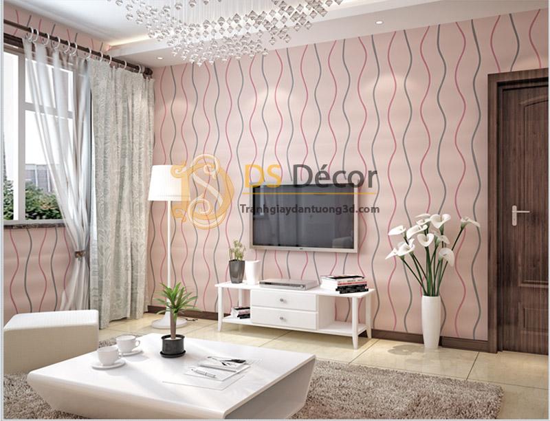 Giấy dán tường sọc lượn sóng 3D072 sọc hồng ghi nền hồng