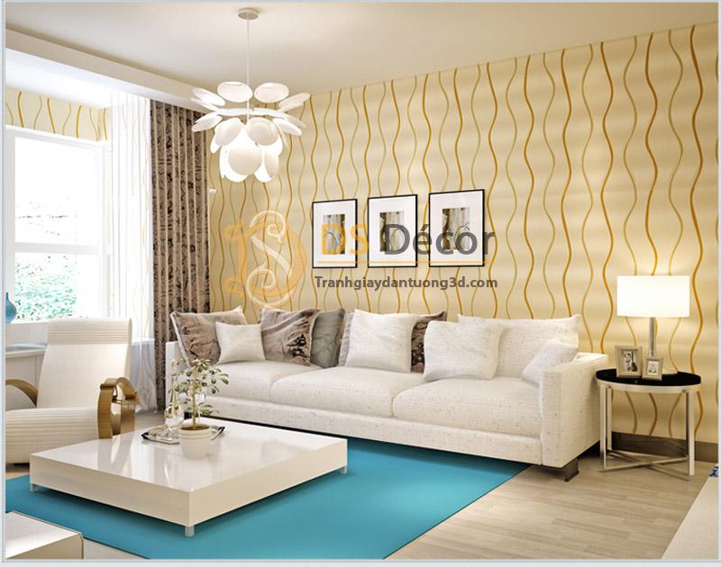 Đèn và ánh sáng cùng Giấy Dán Tường Sọc Lượn Sóng 3D072 làm nổi bật phòng khách của bạn.
